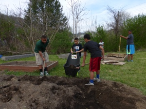 4-H'ers working in Garden.