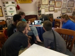 Students view and critique their work.